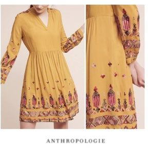 Anthropologie Floreat Embroidered Yellow dress